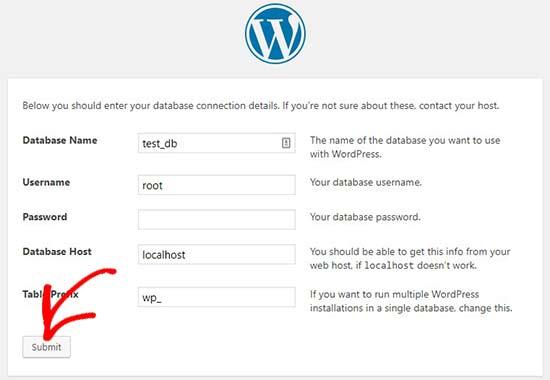 Enter database details